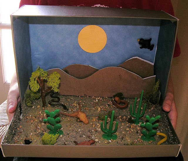 Cute shoe box diorama made with some sand (found at hobby stores), paper (craft stores), and fake trees/bushes (also found at hobby stores):
