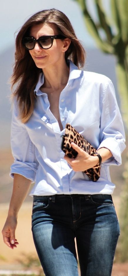 Sandro Light Blue Women's Menswear Inspired Button Up - would pair w/ black heels