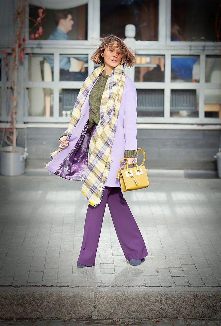 purple flared pants and light purple coat on GalantGirl.com