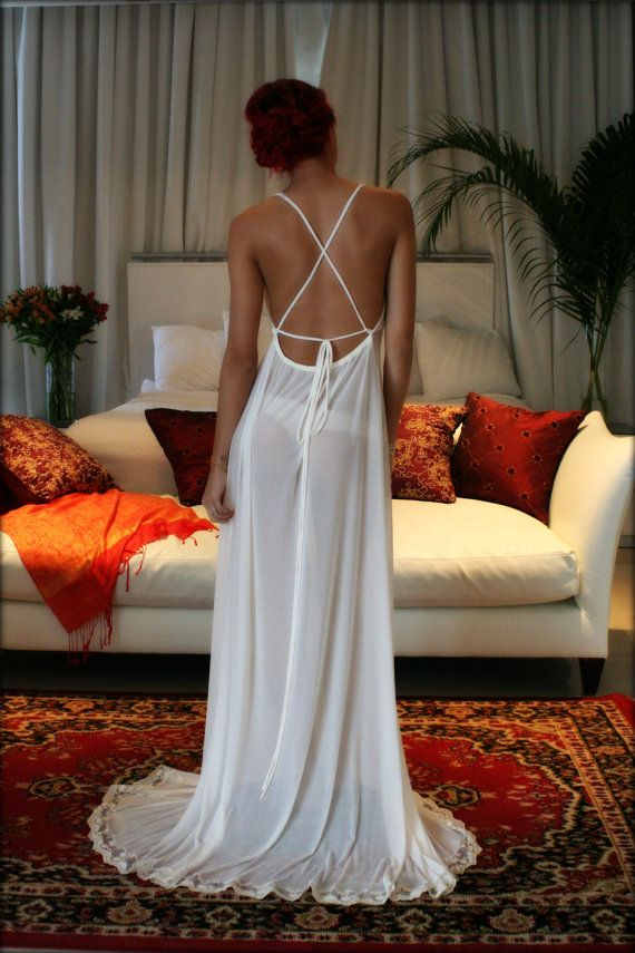 Blush Ivory Backless Nightgown Bridal Lingerie Sleepwear Wedding Lingerie Stretch French Netting Sophie Slip Gown Sarafina Dreams Honeymoon