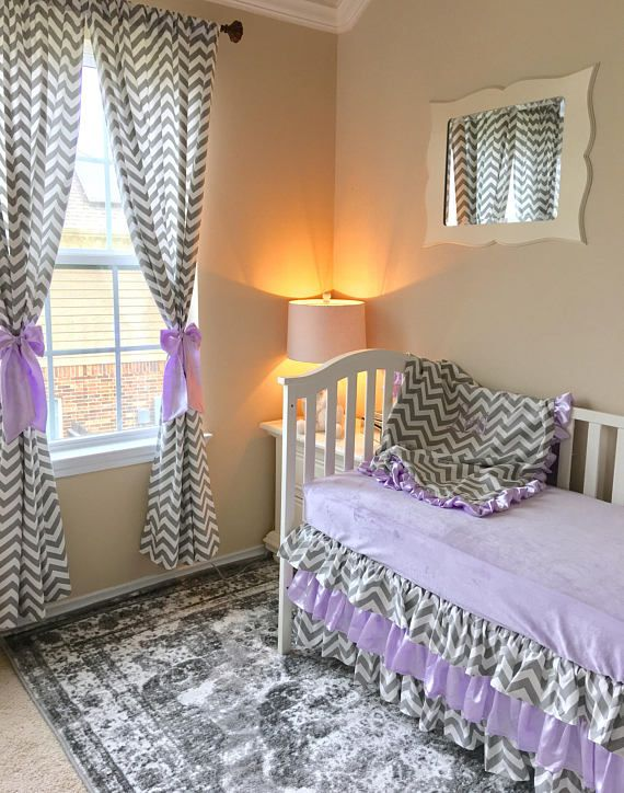 Grey Chevron Toddler Bedding, Lavender Toddler Bedding Sets, Purple Toddler Bedding, Crib Bedding Set for Toddlers, Girl Toddler Bedding Grey chevron and lavender toddler bedding for your sweetheart! We have so many options you can add to build the most adorable bedding set and