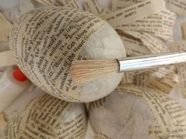SewforSoul: Altered Plastic Easter Egg Tutorial.  Book page decoupage using PVA glue rather than Mod Podge.
