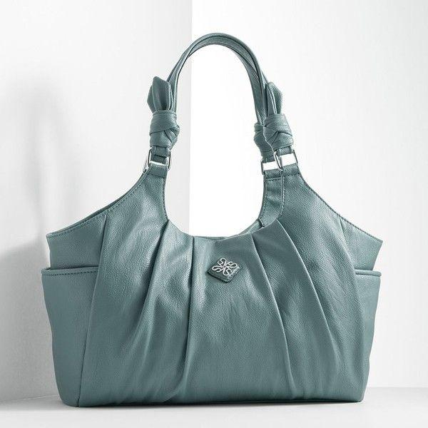 Simply Vera Vera Wang Bayonne Pleated Satchel ($53) ❤ liked on Polyvore featuring bags, handbags, brt blue, green handbag, shoulder strap purses, purse satchel, green purse and man bag