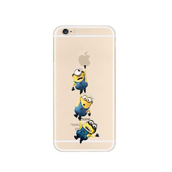 Minions 3 Middle Climbing iPhone 6s 6 Plus 5s 5 Case Transparent Clear Soft Silicone Rubber Printed Cover Case Free Worldwide Shipping