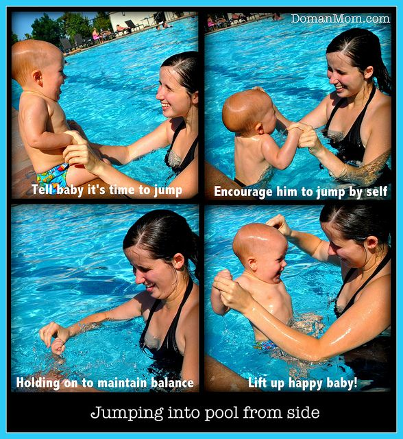 How to teach your baby to swim by themselves, an activity list for 6-12 month olds. Fun, gentle, and easy!
