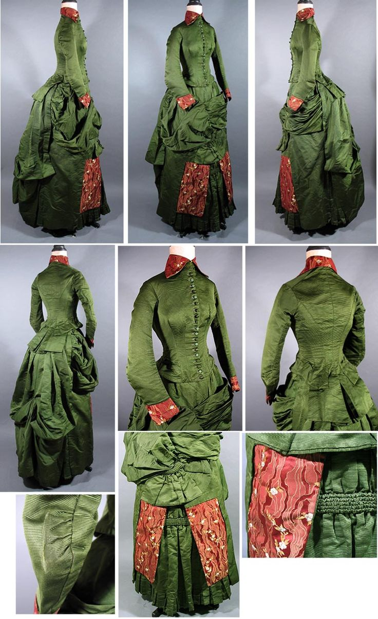 1880s green silk ottoman bustle dress with brocade panels - Past Perfect Vintage
