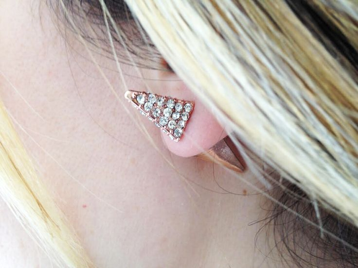"""""""Coco"""" Rose gold spiked rhinestone peek a boo earing - White Crown SocietyWhite Crown Society"""