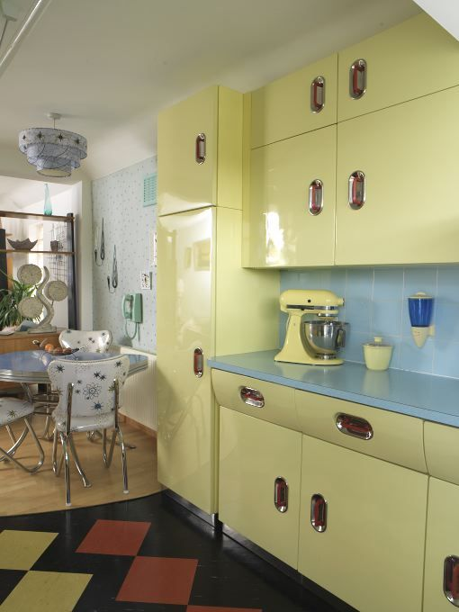 yellow retro kitchens - photo #19