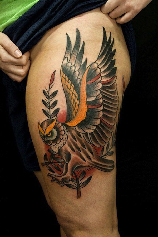Colorful owl thigh tattoo #TattooModels #tattoo
