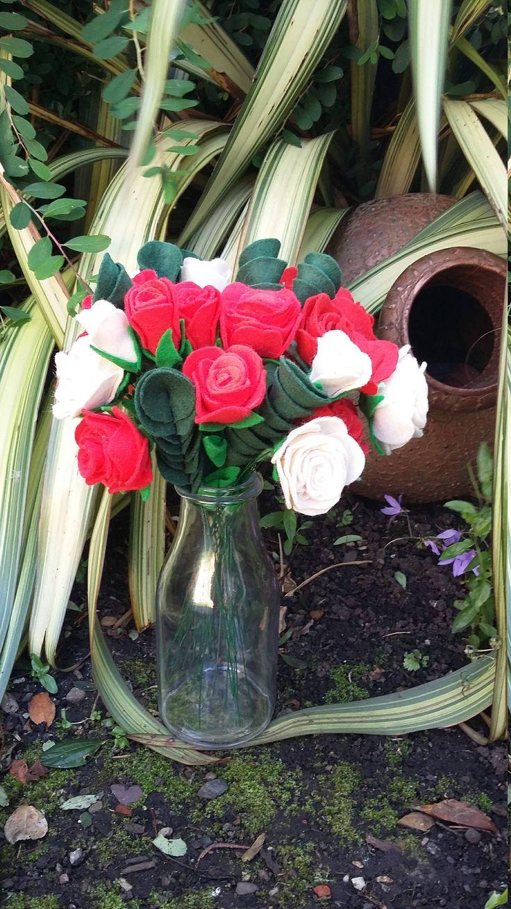 Single stem felt rose (1) made to order by ThinkSleepy on Etsy
