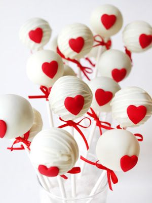 White Cake Pops with Red Hearts