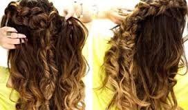 Image result for half up curls braid