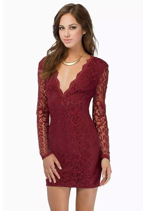 Unique Wine Red, White, Black Sexy Womens Long Sleeve Hollow Out Lace Deep V Neck Mini Sexy Dress SV14 CB034983 | OK Fashion