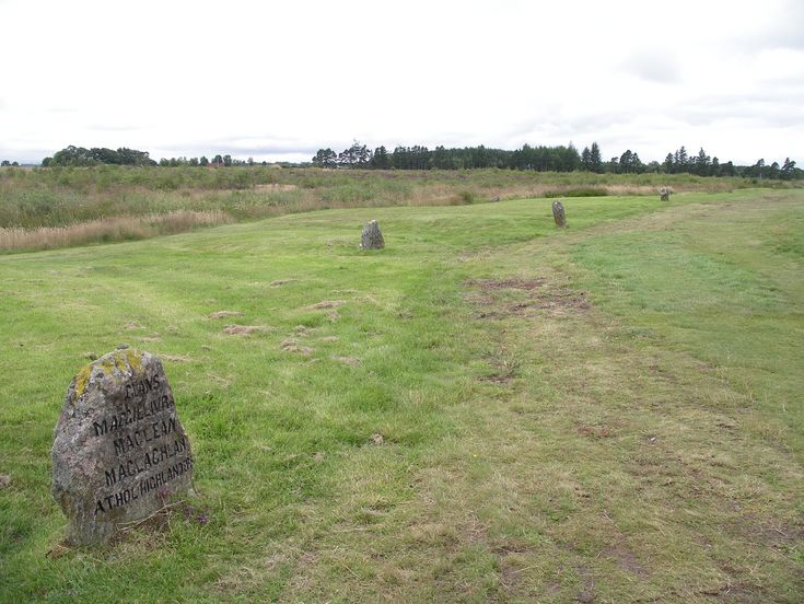 Stones at Culloden marking the site of the burial of various clans. These types of markers are scattered all over the moor. Legend has it, the heather will no longer grow where the graves are located... nor do birds sing over the moor.