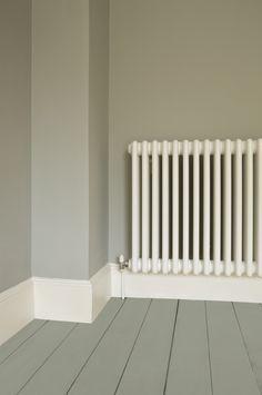 Walls in Farrow & Ball Lamp Room Gray Estate Emulsion, Floor in Pigeon Floor Paint and radiator in Wimborne Estate Eggshell White