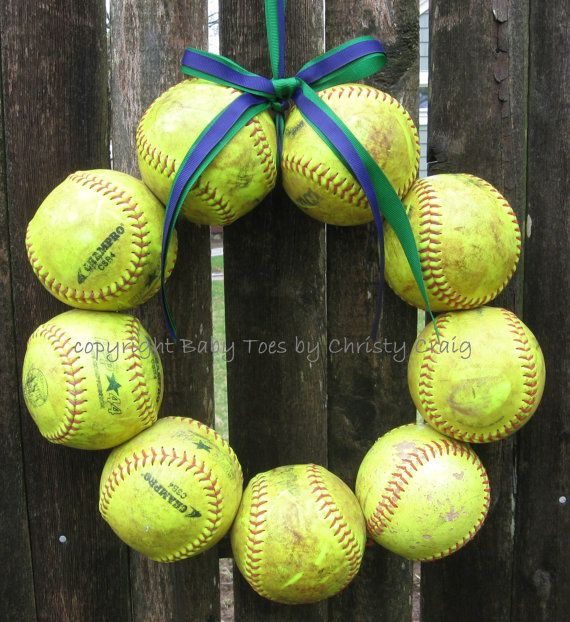 The Original Softball Wreath yellow balls - no hat no letter