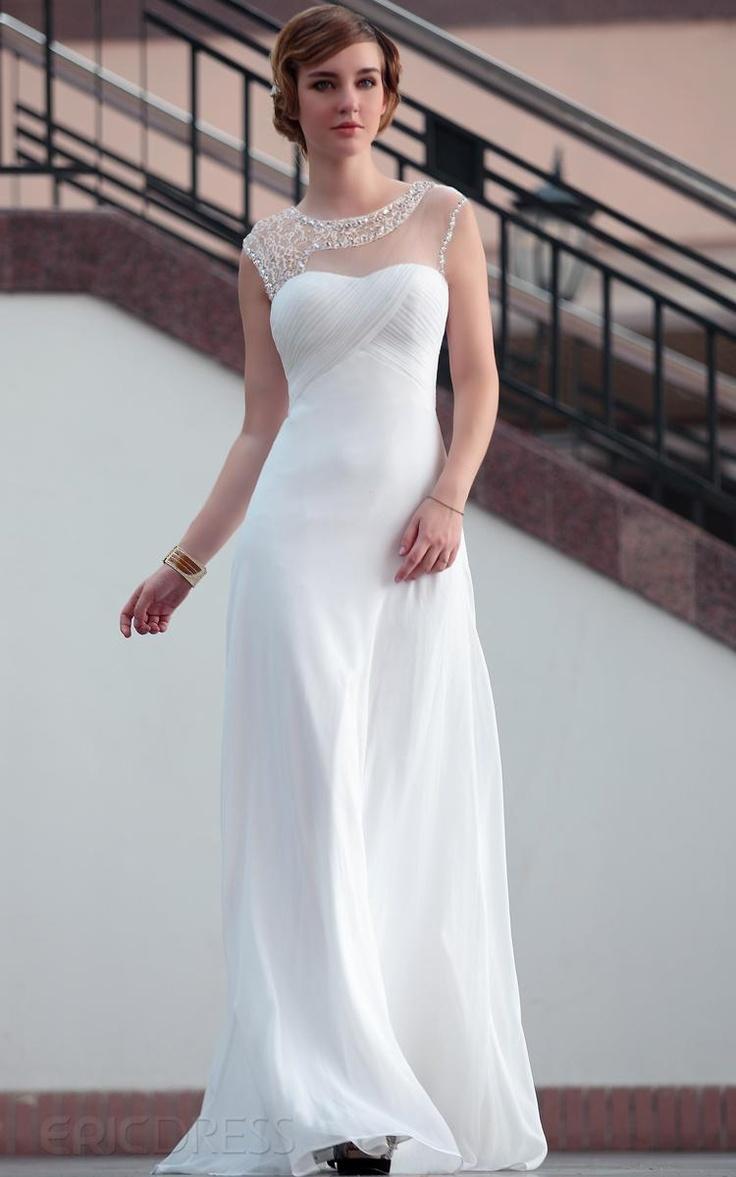 Find Elegant Sheath Round Neck Floor Length Chiffon Wedding Dresses Column At Prices