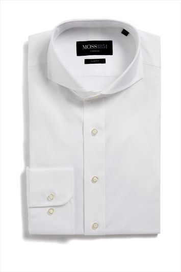 Moss 1851 Single Cuff Slim Fit Extreme Cutaway Collar Oxford Formal Shirt White