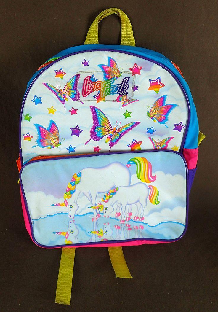 Lisa Frank Backpack Vintage 1980's Butterflies Unicorn Neon RARE | eBay