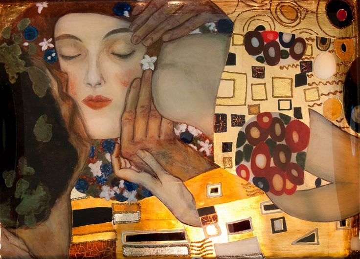 tray, painting, golg, gilding, tempera, Klimt copy