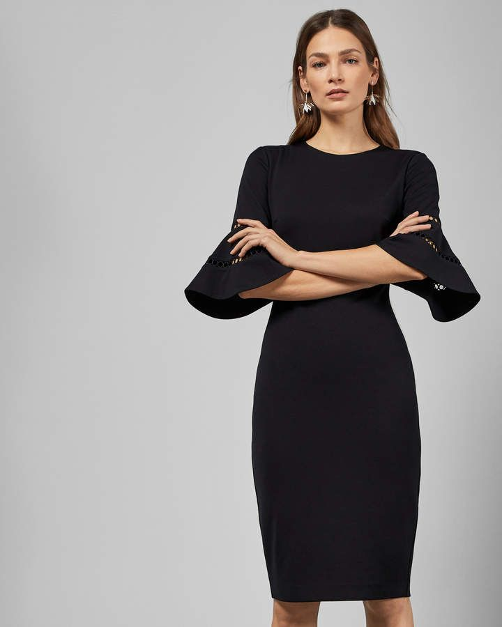 1e8b637f7 Ted Baker FILNIO Lace sleeve bodycon dress in 2019