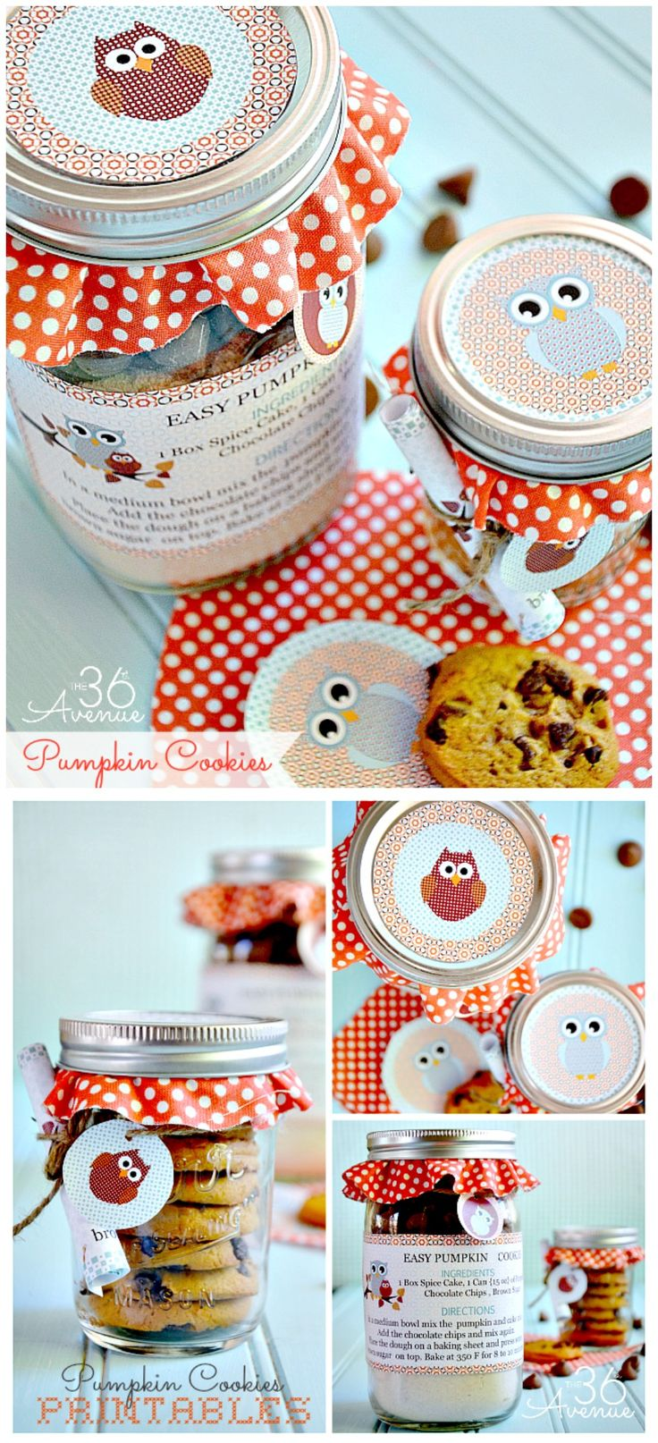 Pumpkin Cookies + Mason jars + Free Printable = ADORABLE and Yummy Gift. Get the recipe and tutorial at the36thavenue.com