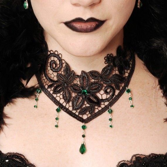 """Nocturne"" - a choker with Victorian style lace and green Swarovski crystals. (Shop: http://www.etsy.com/shop/DarkEleganceDesigns)  Beautiful."
