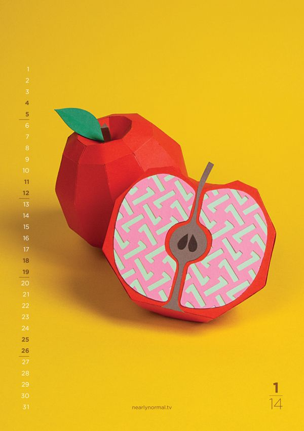 Colorful 2014 calendar, produced by Nearly Normal from London, with unique fruit paper crafts