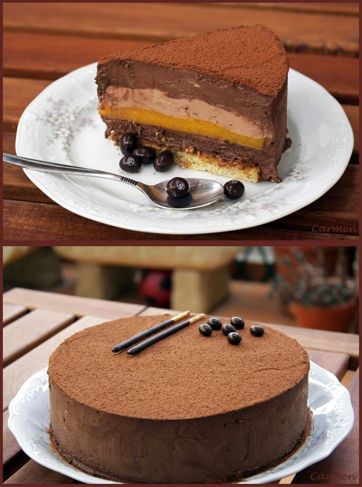 Tarta de mousse de chocolate y albaricoque / http://www.puestoma2tazas.com/