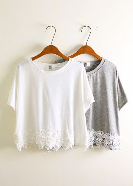 Dress up a plain old t-shirt with a lacey bottom