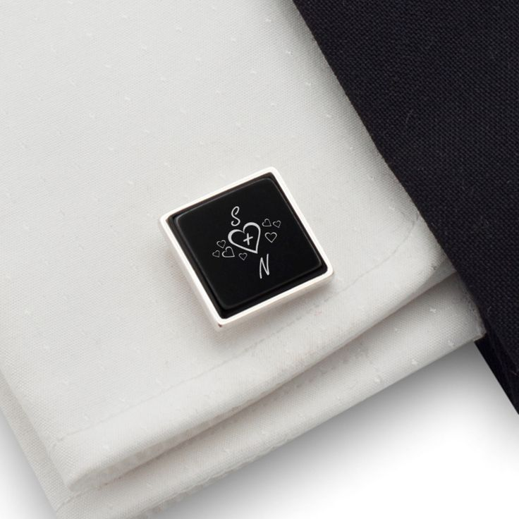 Custom love Gift cufflinks Sterling silver Onyx Cufflinks with LOVE initials engraved on onyx. FREE engraving great for Gift Idea, Birthday Gift, Groom, Wedding or any special occasion.