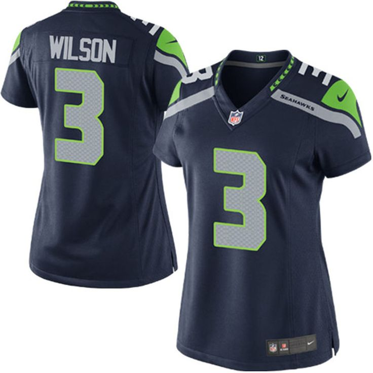 womens seattle seahawks russell wilson nike college navy game jersey .