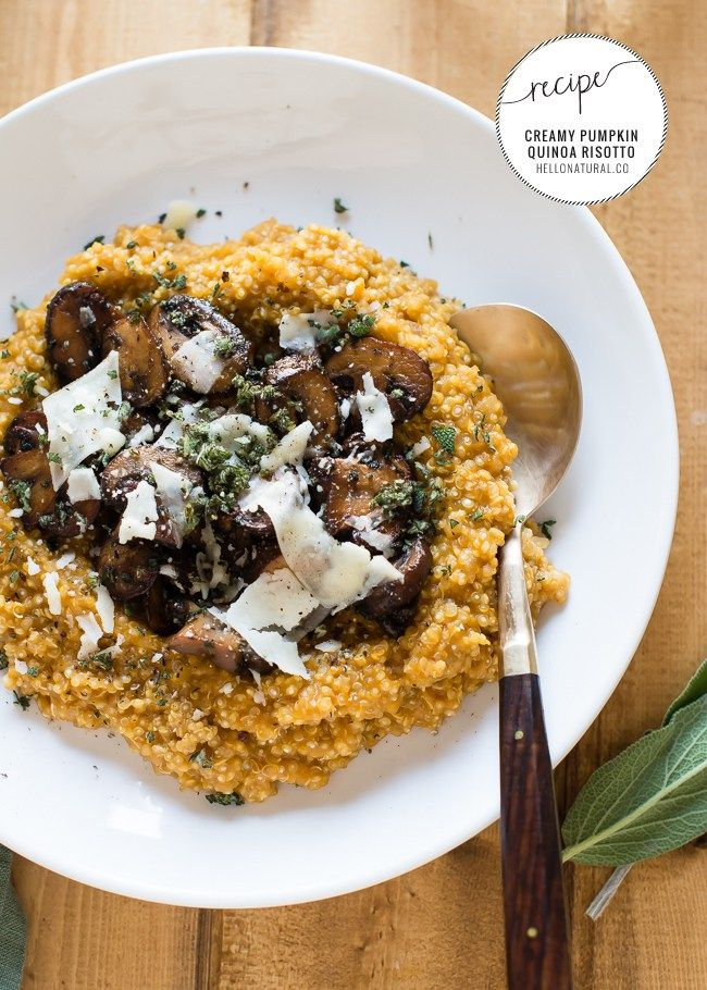Pumpkin Quinoa Risotto Recipe for a healthy weeknight meal or weekend dinner party. Made with quinoa instead of rice and a creamy pumpkin sauce, this lightened-up risotto will be your new fall favorite! | HelloGlow.co