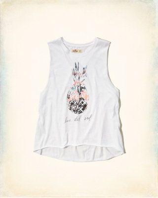 Camiseta sin mangas con sisas cavadas y estampa vintage