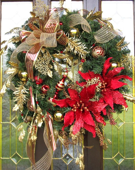 Hey, I found this really awesome Etsy listing at https://www.etsy.com/listing/206773768/red-and-gold-christmas-wreath-holiday