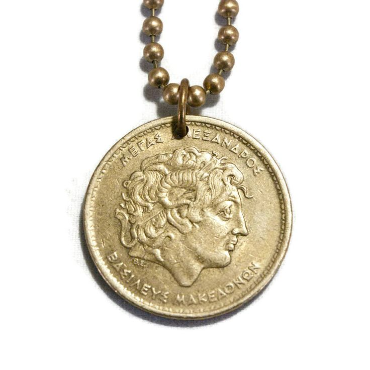 Greece, Alexander the Great, Coin Necklace, Pendant Charm, 100 Drachmas, Greek Coin Jewelry http://etsy.me/2zUTCRv #jewelry #necklace #bronze #unisexadults #copper #necklaces #pendants #coinnecklace #coinjewelry