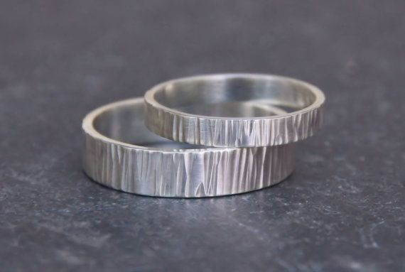 Hammered Silver Wedding Band Set - Woodgrain Pattern - Set of Two Rings- His and Hers- Eco Friendly Recycled  Silver