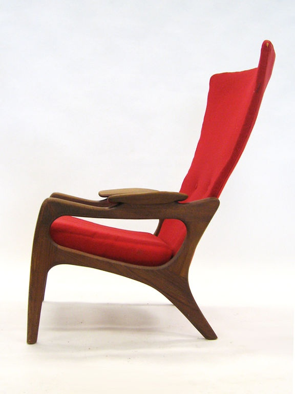 adrian pearsall 2224c walnut frame wingback chair for craft associates 1960s