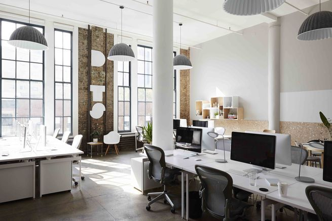 This Scandinavian-inspired office in NYC is designed to be both playful and productive. Courtesy of: Nicole Franzen