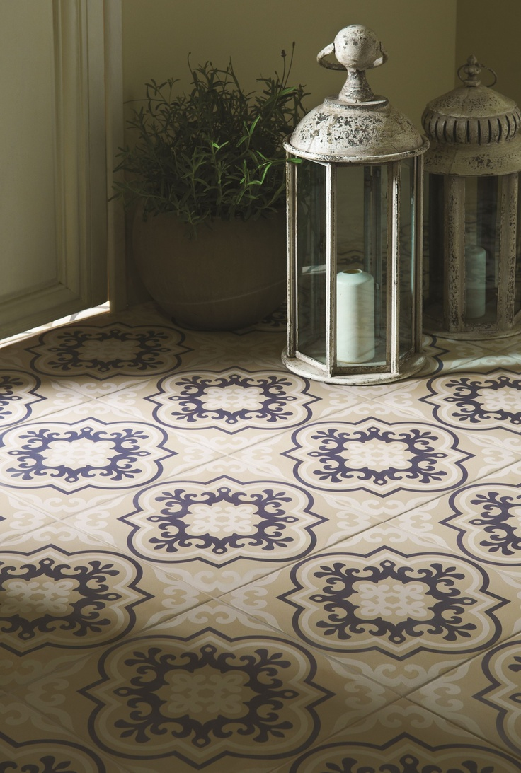 Medieval inspired floor tiles with modern colours - has an impact in small areas or on a grander scale - Vogue from the Odyssey collection by Original Style.