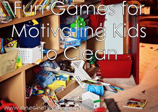 Creative Games to Motivate Kids to Clean - Or so she says... www.oneshetwoshe.com #parenting #cleaning