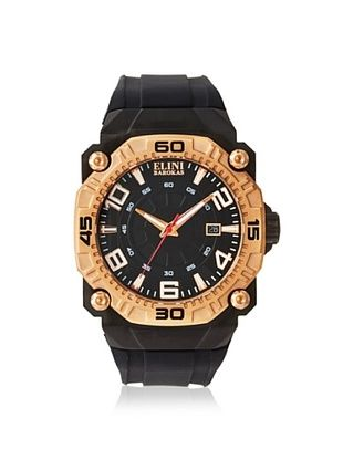 79% OFF Elini Barokas Men's 10318-BB-01RB Comanche Black/Gold Silicone Watch