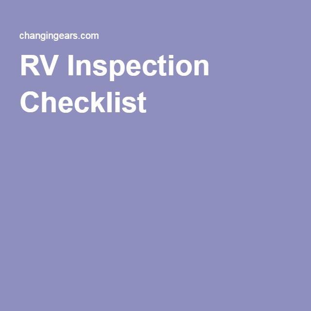 RV Inspection Checklist