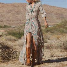 Zanzea cálido 2016 mujeres causales moda vestido de 3/4 de la manga de la playa bohemia con cuello en V Floral dividir largo Maxi vestido de tirantes vestidos vestidos(China (Mainland))
