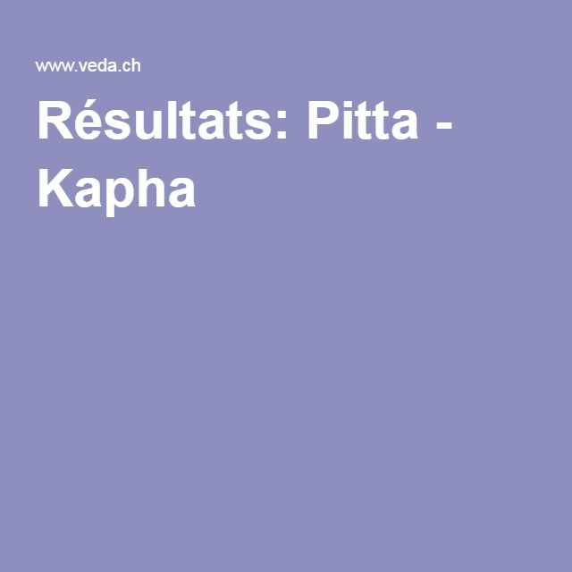 Résultats: Pitta - Kapha