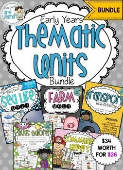 Thematic units kindergarten, grade prep, foundation to year one, grade one. Includes seas life unit, farm unit, transport unit, bugs unit and community helpers unit. Miss jacobs little Leaners.