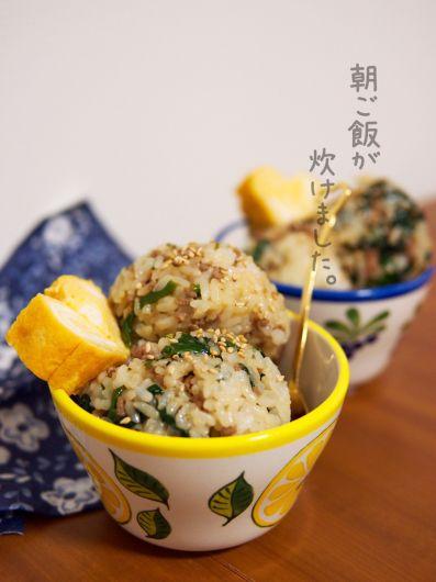 簡単朝ごはん!豚ひき肉とほうれん草の混ぜご飯で「カップライス」 by ...