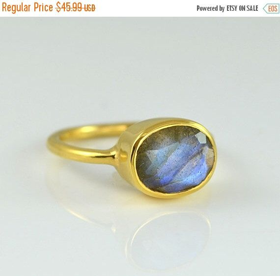 BLACK FRIDAY SALE - Labradorite Ring, Gemstone Ring, Stacking Ring, Gold Ring, Oval Ring, Gift for Her, Sterling Silver Ring, Blue Labradori by DaniqueJewelry on Etsy https://www.etsy.com/listing/187517416/black-friday-sale-labradorite-ring
