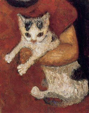 """Paula Modersohn-Becker (German, 1876-1907) - """"Katze in einem Kinderarm"""" (Cat in the arms of a child), c. 1903 - Oil on canvas - © Kunsthalle Bremen, Germany"""