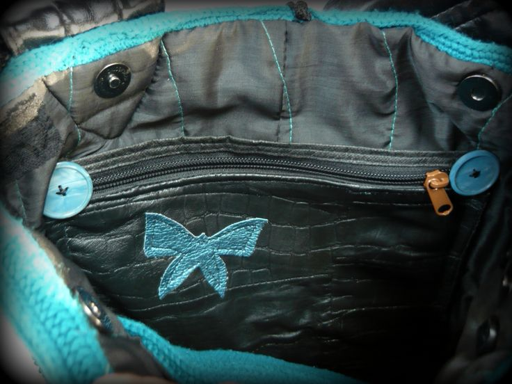 Handmade by Judy Majoros- Turquoise Butterfly Bag. Black leather butterfly applique. Knit shoulder bag. Knit crossbody bag. Recycled bag. fringe,beaded